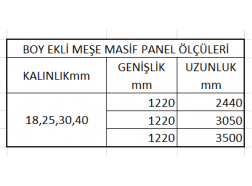 Boy Ekli Meşe Masif Panel