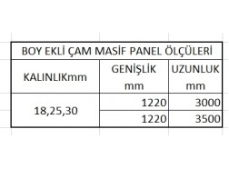 Boy Ekli Çam Masif Panel